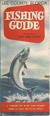 1940s Lee County FL Salt Water Color Fishing Guide and Map of Fort Myers Tarpon