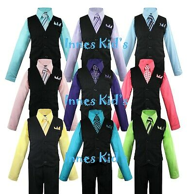 Boys Vest Set with Colored Dress Shirt, Tie Pinstripe Vest and Pants Sizes 2T-14