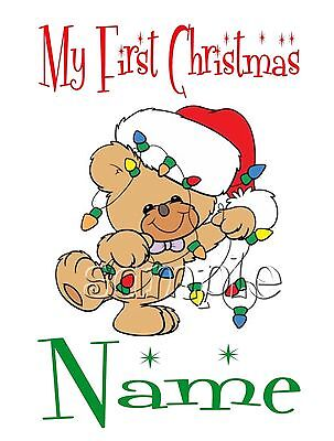Iron On Transfer My First Merry Christmas Bear Lights Santa #7 Personalised