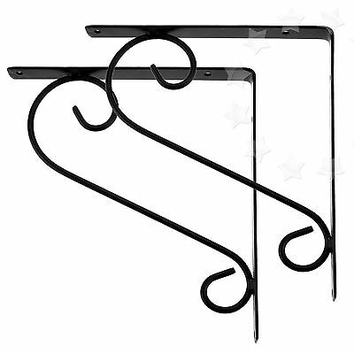 2 x Iron Black Wave Simple Scroll Style Iron Wall Mount Shelf Bracket Toilet