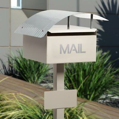 Milkcan Large A4 Light Cream Wave Letterbox Mailbox INCLUDES Post Number Plate