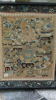 ANTIQUE19c CHINESE GOLD FORBIDDEN STICH SILK EMBROIDERY OF VASES,PLANTERS,FRAMED