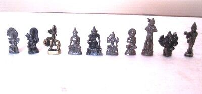 HINDU GOD Krishna Ganesh Shiva Hanuman SET OF TEN MINI AMULET STATUE FIGURE Idol