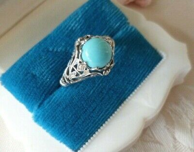 Antique vintage Sterling Silver Ring with Turquoise stone large size 10 or U