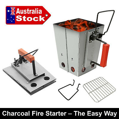 Bbq Charcoal Fast Fire Starter Chimney Cannister Cooking Stove Grill Collapsible