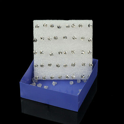 One Box of 40pcs New Fashion Clear Crystal Earrings Ear Studs Jewelry Wholesale