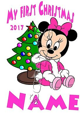 Iron On Transfer Personalised My First Christmas Minnie Mouse Cute Pink Tree