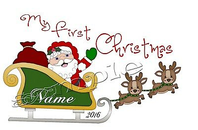 Iron On Transfer Personalised My First Christmas Sleigh Santa Reindeer Merry