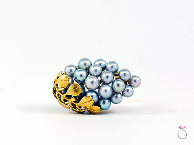 Ming's Hawaii Large Silver Blue Pearls Grape Cluster Ring. Size 6.25, 14K Gold