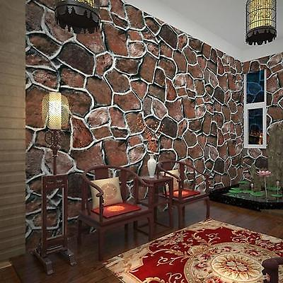 10M 3D Rustic Stone Slate Looking Realistic Impressions Embossed Wallpaper Red