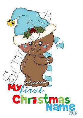 Iron On Transfer Personalised My First Christmas Blue Gingerbread Santa Candy