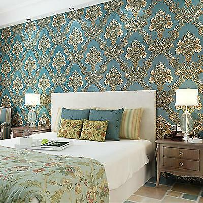 10M Damask Embossed 3D Textured Feature Art Wall Paper Wallpaper Roll Ocean Blue