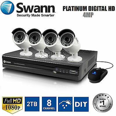 Swann NVR8-7400 - 8 Ch HD- 1080p 2TB NVR CCTV KIT + 4x NHD-818 4.0MP HD Cameras*