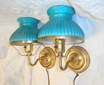Classic Pair (2) Electric Vintage Brass Student Lamp Sconces w/Teal Blue Shades