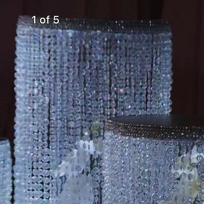 """Crystal  Beaded  6"""" round  tier ,with acrylic diamond cut For Cake Stand"""