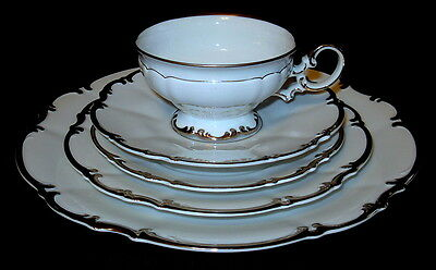 Vintage Hutschenreuther Selb China of Bavaria 5 Pc. Place Setting Sylvia Pattern
