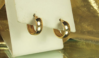 Vintage Signed 14K YELLOW GOLD Wide HOOP Earrings~Snap Lock Closure~EXCELLENT!!!