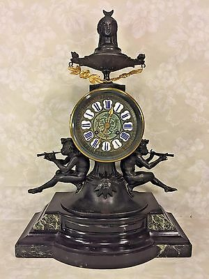 Antique French Samuel Marti Figural Clock Black Marble & White Metal Runs?