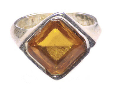 Bejewelled- Yellow Gem Encrusted & 17 Mm Chrome Metal Hand Ring (Zx226)