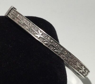 "Vintage 925 Sterling Silver Etched Pattern Small Size Bangle 6"" Inner 6.1g"