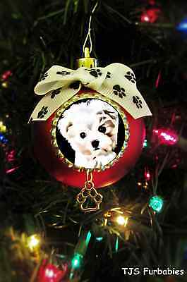 Maltese Puppy-Painted Christmas Ball Ornament Dog Lovers Gift TJS Furbabies