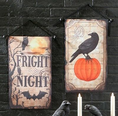 "Raz Imports 21"" Halloween FRIGHT NIGHT BANNERS (set of 2) H3608084"