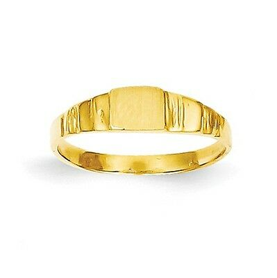14k Yellow Gold Engravable Square Baby Signet Ring