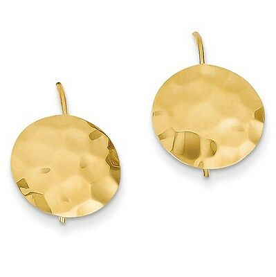 14k Yellow Gold Hammered Circle Disc Earrings (0.7IN x 0.5IN)