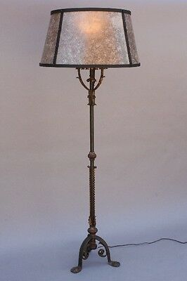 1920s Large Spanish Revival Antique Floor Lamp w Mica Shade Vintage Light (9524)