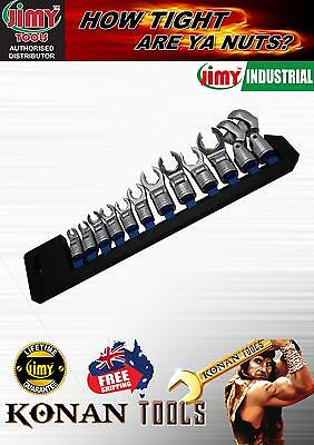 "Jimy Tools Flexible Head Crow Foot Spanner Set 3/8"" Drive 12 Piece Metric"