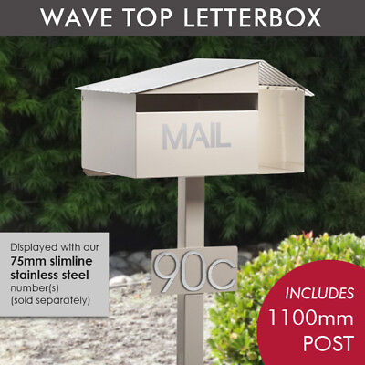 Milkcan Cream Crest Letterbox Freestanding Mailbox with Post + Number Plate