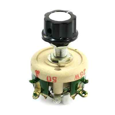 Single Turn Resistor 25W 50 Ohm Adjustable Taper Ceramic Disk Rheostat