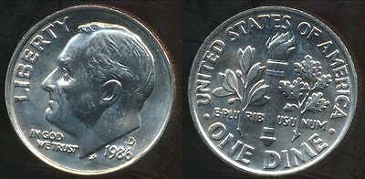 United States, 1986-D Dime, Roosevelt - Choice Uncirculated