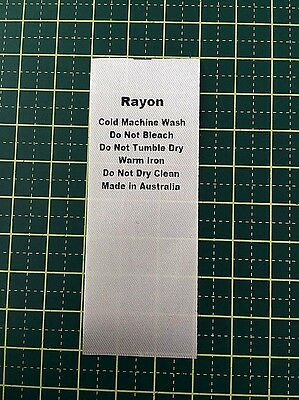 Care/Wash Instruction Clothing Labels - Rayon