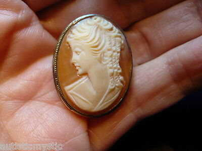 antique 800 silver finely carved beautiful lady face shell cameo pin pendant
