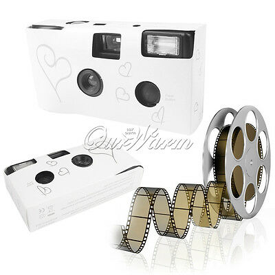 OurWarm 1 X SILVER HEARTS DISPOSABLE CAMERA WITH FLASH WEDDING BRIDAL FAVORS