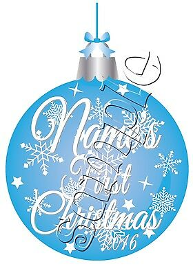 IRON ON TRANSFER PERSONALISED MY FIRST CHRISTMAS BLUE BAUBLE BOY 11x15cm