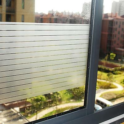 90cm x 1m STRIPE Static Glueless Reusable Removable Frosted Window Glass Film