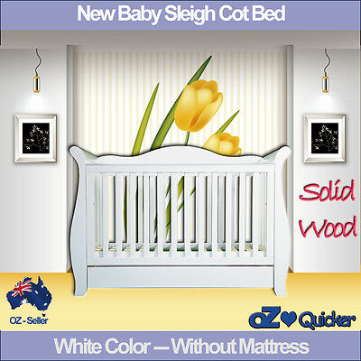 White 3 in1 New Zealand Pine Baby Cot crib Toddler Bed with Drawer