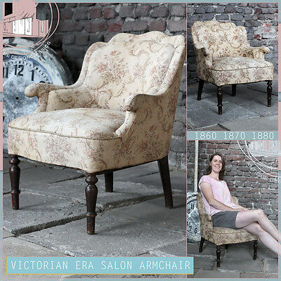 Antique French Salon Ladies Armchair 1860 Victorian Era Damen Sessel Fauteuil