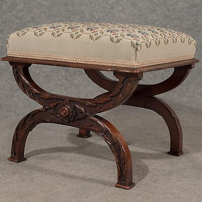 Antique Dressing Music Stool Footstool Needlepoint Tapestry Victorian c1870