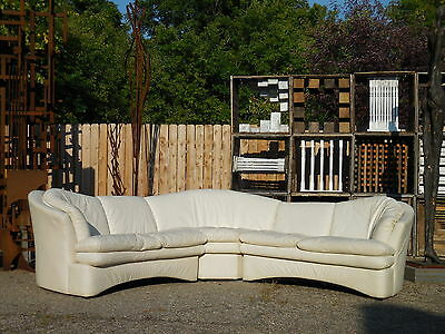 3pc Leather Serpentine Sectional Jaymar Sofa Mid Century Modern Kagan Style/Era