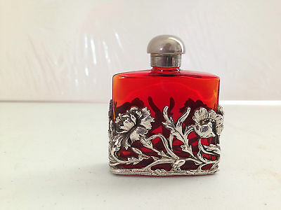 Lovely Art Nouveau Style Red Glass & Silver Floral Perfume Scent Bottle