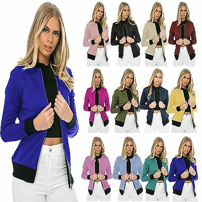Womens Ma1 Bomber Jacket Classic Style Zip Up Biker Vintage Stylish Coat UK 6-12