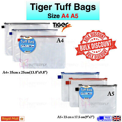 Tiger School Office Stationary A4 A5 Tuff Bags Clear Pencil Case Clear A4 Case
