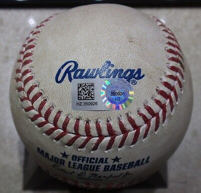 2015 Dodgers Game Used Baseball - Kenley Jansen Save Pitch to Mike Trout