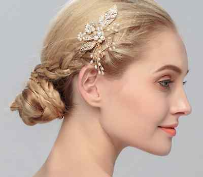 Rose Gold Floral Bridal Comb With Crystals And Pearls Wedding Hair Accessory