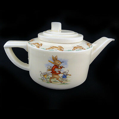 "BUNNYKINS TEA POT Royal Doulton 3.5"" tall Casino Style Made in England VINTAGE"