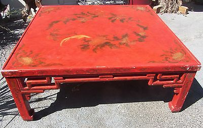Antique Chinoiserie Chinese Red Lacquer Coffee Table Hollywood Regency Large