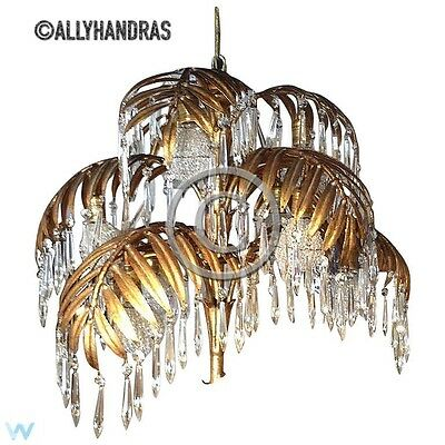 Antique Vintage Tole Palm Frond Crystal Chandelier Waterfall Lamp Czech Shades